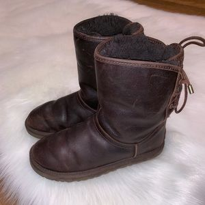 Ugg brown leather back tie boots